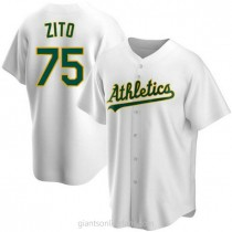 Youth Barry Zito Oakland Athletics #75 Authentic White Home A592 Jerseys