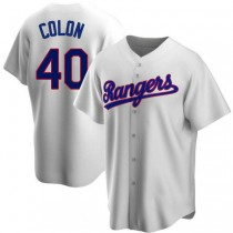 Youth Bartolo Colon Texas Rangers #40 Replica White Home Cooperstown Collection A592 Jersey