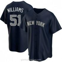 Youth Bernie Williams Nw York Yankees #51 Replica Navy Alternate A592 Jersey