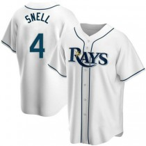 Youth Blake Snell Tampa Bay Rays #4 Replica White Home A592 Jersey