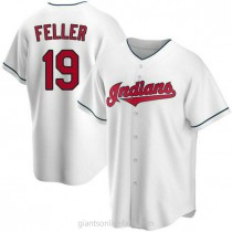 Youth Bob Feller Cleveland Indians #19 Authentic White Home A592 Jersey