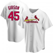 Youth Bob Gibson St Louis Cardinals #45 White Home A592 Jersey Replica