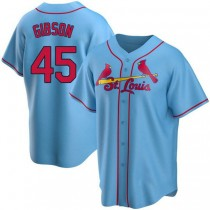 Youth Bob Gibson St Louis Cardinals Light Blue Alternate A592 Jersey Authentic