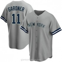 Youth Brett Gardner New York Yankees #11 Authentic Gray Road Name A592 Jerseys