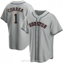 Youth Carlos Correa Houston Astros #1 Authentic Gray Road A592 Jersey