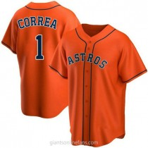Youth Carlos Correa Houston Astros #1 Authentic Orange Alternate A592 Jerseys