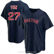 Youth Carlton Fisk Boston Red Sox #27 Authentic Navy Alternate A592 Jerseys
