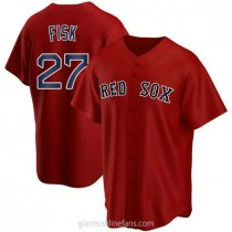 Youth Carlton Fisk Boston Red Sox #27 Authentic Red Alternate A592 Jerseys