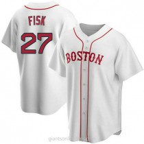 Youth Carlton Fisk Boston Red Sox #27 Authentic White Alternate A592 Jersey