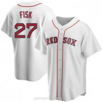 Youth Carlton Fisk Boston Red Sox #27 Authentic White Home A592 Jersey