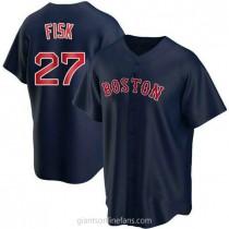 Youth Carlton Fisk Boston Red Sox Replica Navy Alternate A592 Jersey