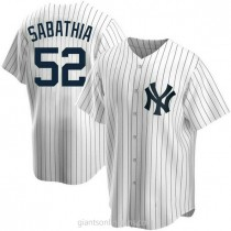 Youth Cc Sabathia New York Yankees #52 Replica White Home A592 Jersey