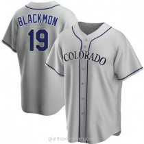 Youth Charlie Blackmon Colorado Rockies #19 Authentic Black Gray Road A592 Jersey