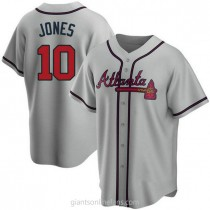 Youth Chipper Jones Atlanta Braves #10 Authentic Gray Road A592 Jersey