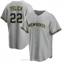 Youth Christian Yelich Milwaukee Brewers #22 Replica Gray Road A592 Jerseys