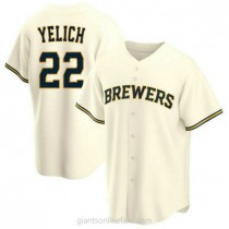 Youth Christian Yelich Milwaukee Brewers Replica Cream Home A592 Jersey