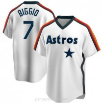 Youth Craig Biggio Houston Astros #7 Authentic White Home Cooperstown Collection Team A592 Jersey