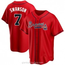 Youth Dansby Swanson Atlanta Braves #7 Authentic Red Alternate A592 Jerseys