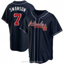 Youth Dansby Swanson Atlanta Braves Authentic Navy Alternate A592 Jersey