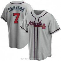 Youth Dansby Swanson Atlanta Braves Replica Gray Road A592 Jersey