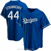 Youth Darryl Strawberry Los Angeles Dodgers #44 Authentic Royal Alternate A592 Jersey