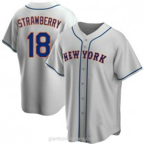 Youth Darryl Strawberry New York Mets #18 Replica Gray Road A592 Jersey
