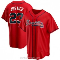 Youth David Justice Atlanta Braves #23 Authentic Red Alternate A592 Jerseys