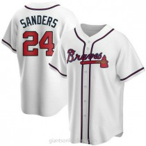 Youth Deion Sanders Atlanta Braves #24 Authentic White Home A592 Jersey