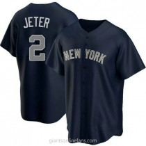 Youth Derek Jeter New York Yankees #2 Authentic Navy Alternate A592 Jerseys