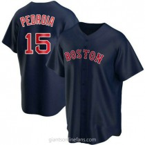 Youth Dustin Pedroia Boston Red Sox #15 Authentic Navy Alternate A592 Jersey