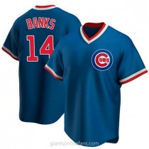 Youth Ernie Banks Chicago Cubs #14 Authentic Royal Road Cooperstown Collection A592 Jersey
