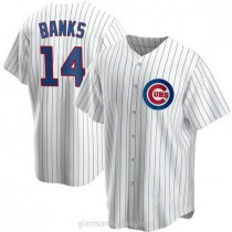 Youth Ernie Banks Chicago Cubs #14 Authentic White Home A592 Jerseys