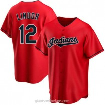 Youth Francisco Lindor Cleveland Indians #12 Authentic Red Alternate A592 Jerseys