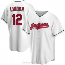 Youth Francisco Lindor Cleveland Indians #12 Replica White Home A592 Jersey