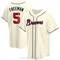 Youth Freddie Freeman Atlanta Braves #5 Replica Cream Alternate A592 Jerseys