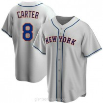 Youth Gary Carter New York Mets #8 Authentic Gray Road A592 Jersey