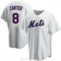 Youth Gary Carter New York Mets #8 Authentic White Home A592 Jerseys