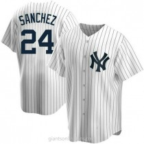 Youth Gary Sanchez New York Yankees #24 Authentic White Home A592 Jersey