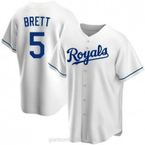 Youth George Brett Kansas City Royals #5 Authentic White Home A592 Jersey