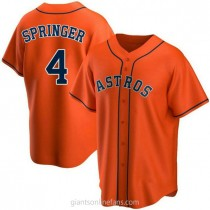 Youth George Springer Houston Astros #4 Authentic Orange Alternate A592 Jersey