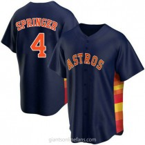Youth George Springer Houston Astros #4 Replica Navy Alternate A592 Jersey