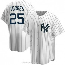 Youth Gleyber Torres New York Yankees #25 Authentic White Home A592 Jersey