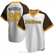 Youth Greg Maddux San Diego Padres #30 Replica White Home Cooperstown Collection A592 Jersey