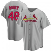 Youth Harrison Bader St Louis Cardinals #48 Gray Road A592 Jersey Authentic