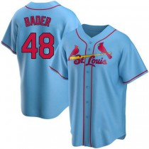 Youth Harrison Bader St Louis Cardinals #48 Light Blue Alternate A592 Jersey Authentic