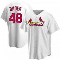 Youth Harrison Bader St Louis Cardinals #48 White Home A592 Jersey Authentic