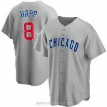 Youth Ian Happ Chicago Cubs #8 Authentic Gray Road A592 Jersey