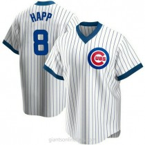 Youth Ian Happ Chicago Cubs #8 Authentic White Home Cooperstown Collection A592 Jersey