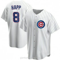 Youth Ian Happ Chicago Cubs #8 Replica White Home A592 Jersey