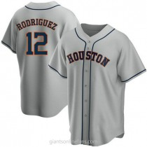 Youth Ivan Rodriguez Houston Astros #12 Authentic Gray Road A592 Jersey